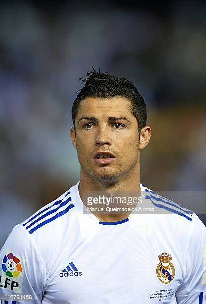 Cristiano Ronaldo of Real Madrid looks on before the Copa del Rey final match between Real Madrid and Barcelona at Estadio Mestalla on April 20 2011...