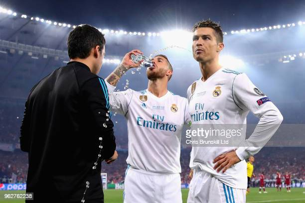 Cristiano Ronaldo of Real Madrid looks on before the UEFA Champions League final between Real Madrid and Liverpool at NSC Olimpiyskiy Stadium on May...