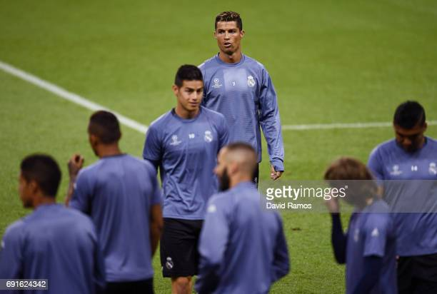 Cristiano Ronaldo of Real Madrid looks on during a Real Madrid training session prior to the UEFA Champions League Final between Juventus and Real...