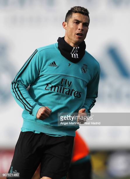 Cristiano Ronaldo of Real Madrid looks on during a training session at Valdebebas training ground on January 20 2018 in Madrid Spain