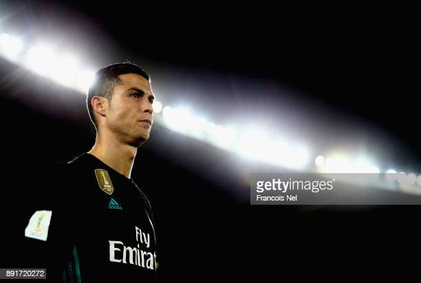 Cristiano Ronaldo of Real Madrid looks on during the FIFA Club World Cup UAE 2017 match between Al Jazira and Real Madrid CF on December 13 2017 in...