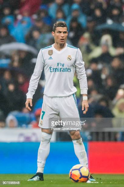 Cristiano Ronaldo of Real Madrid looks on during the La Liga 201718 match between Real Madrid and Villarreal CF at Santiago Bernabeu Stadium on...