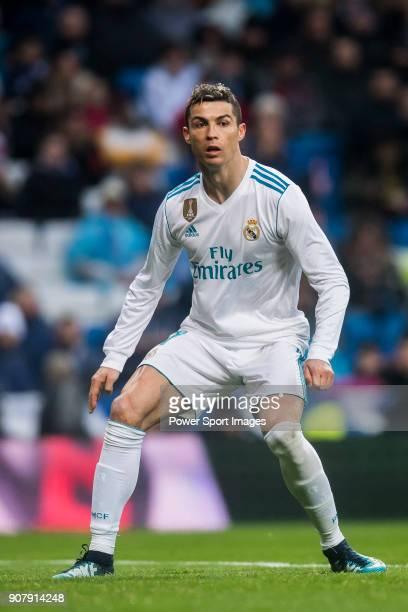 Cristiano Ronaldo of Real Madrid looks on during the La Liga 201718 match between Real Madrid and Villarreal CF at Santiago Bernabeu Stadium on...