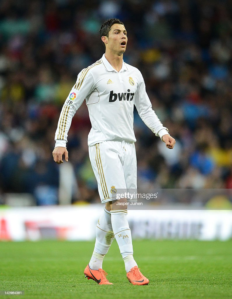 Cristiano Ronaldo of Real Madrid looks on during the La Liga match between Real Madrid CF and Real Sporting de Gijon at the Estadio Santiago Bernabeu on April 14, 2012 in Madrid, Spain.