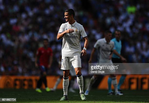 Cristiano Ronaldo of Real Madrid looks on during the La Liga match between Real Madrid CF and CA Osasuna at Estadio Santiago Bernabeu on September 10...