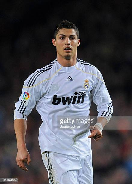 Cristiano Ronaldo of Real Madrid looks on during the La Liga match between Barcelona and Real Madrid at the Camp Nou Stadium on November 29 2009 in...