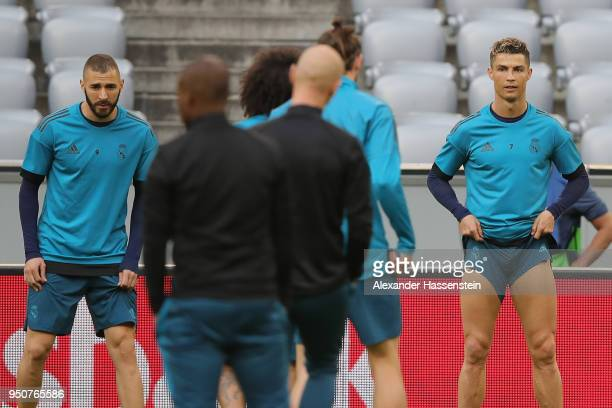 Cristiano Ronaldo of Real Madrid looks on during the Real Madrid training session ahead of the UEFA Champions League semi final against Bayern Munich...