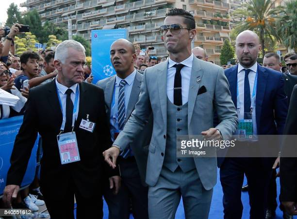 Cristiano Ronaldo of Real Madrid looks on during the UEFA Champions League Group stage draw ceremony at the Grimaldi Forum Monte Carlo in Monaco on...