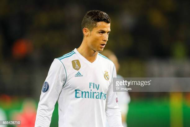 Cristiano Ronaldo of Real Madrid looks on during the UEFA Champions League group H match between Borussia Dortmund and Real Madrid at Signal Iduna...