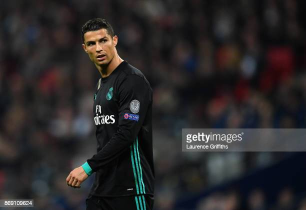 Cristiano Ronaldo of Real Madrid looks on during the UEFA Champions League group H match between Tottenham Hotspur and Real Madrid at Wembley Stadium...