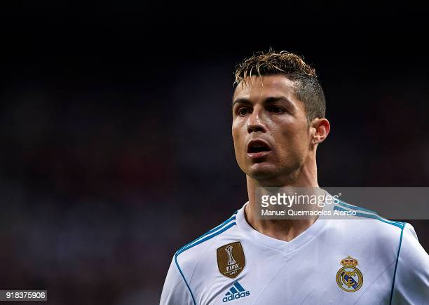 Cristiano Ronaldo of Real Madrid looks on during the UEFA Champions League Round of 16 First Leg match between Real Madrid and Paris SaintGermain at...