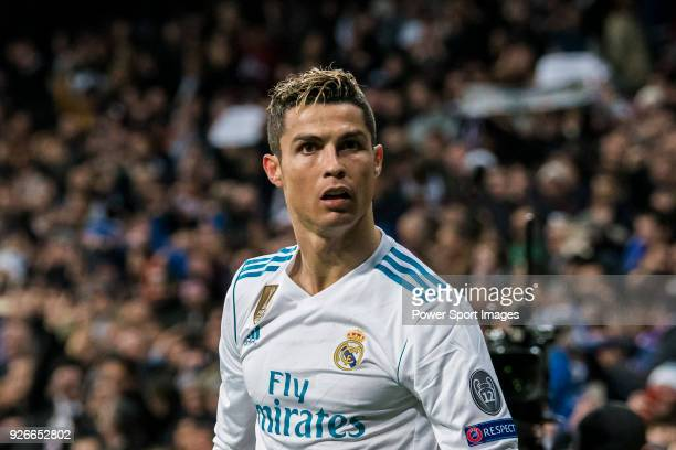 Cristiano Ronaldo of Real Madrid looks on during the UEFA Champions League 201718 Round of 16 match between Real Madrid vs Paris Saint Germain at...