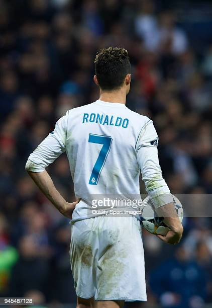 Cristiano Ronaldo of Real Madrid looks on during the UEFA Champions League Quarter Final Second Leg match between Real Madrid and Juventus at Estadio...