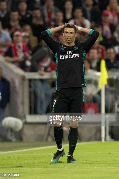 Cristiano Ronaldo of Real Madrid looks on during the UEFA Champions League Semi Final First Leg match between Bayern Muenchen and Real Madrid at the...