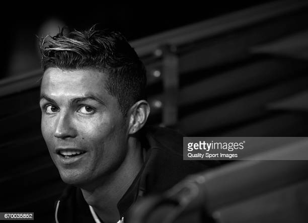 Cristiano Ronaldo of Real Madrid looks on prior the UEFA Champions League Quarter Final second leg match between Real Madrid CF and FC Bayern...