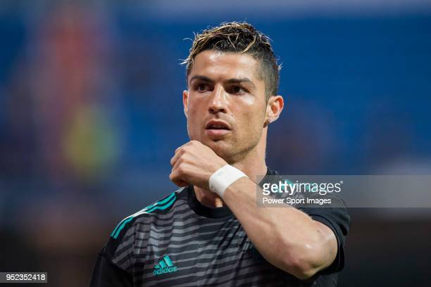 Cristiano Ronaldo of Real Madrid looks on prior to the La Liga match between Real Madrid and Athletic Club at Estadio Santiago Bernabeu on April 18...