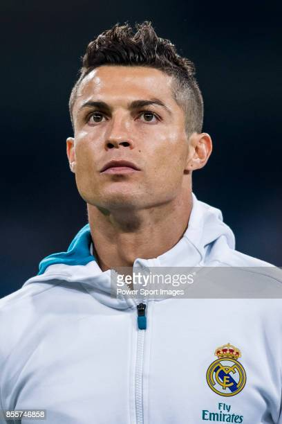 Cristiano Ronaldo of Real Madrid looks prior the La Liga 201718 match between Real Madrid and Real Betis at Estadio Santiago Bernabeu on 20 September...