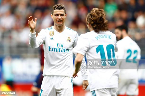 Cristiano Ronaldo of Real Madrid Luka Modric of Real Madrid during the La Liga Santander match between Eibar v Real Madrid at the Estadio Municipal...