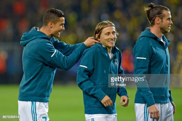 Cristiano Ronaldo of Real Madrid Luka Modric of Real Madrid Gareth Bale of Real Madrid looks on during the UEFA Champions League group H match...