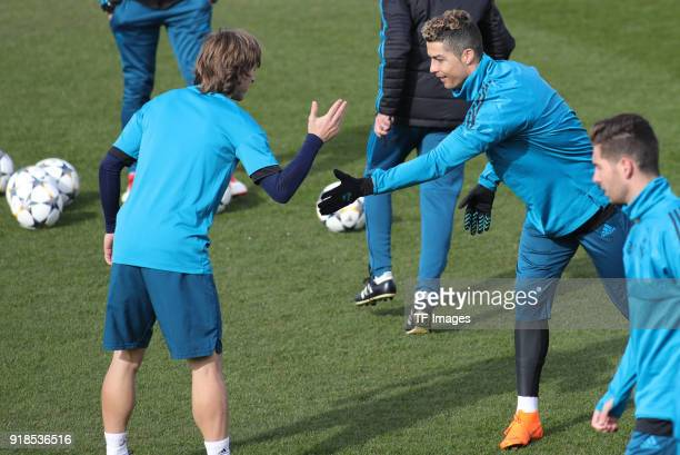 Cristiano Ronaldo of Real Madrid Luka Modric of Real Madrid looks on during a training session at Valdebebas training ground ahead their Round of 16...