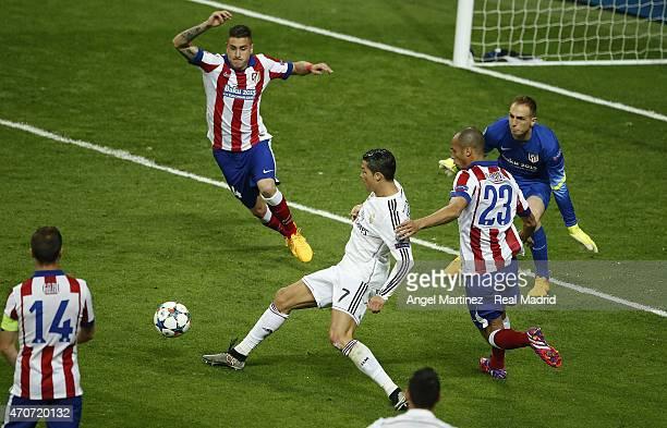 Cristiano Ronaldo of Real Madrid makes a pass during the UEFA Champions League Quarter Final second leg match between Real Madrid CF and Club...