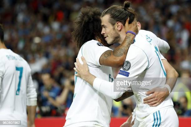 Cristiano Ronaldo of Real Madrid Marcelo of Real Madrid Gareth Bale of Real Madrid during the UEFA Champions League final between Real Madrid and...