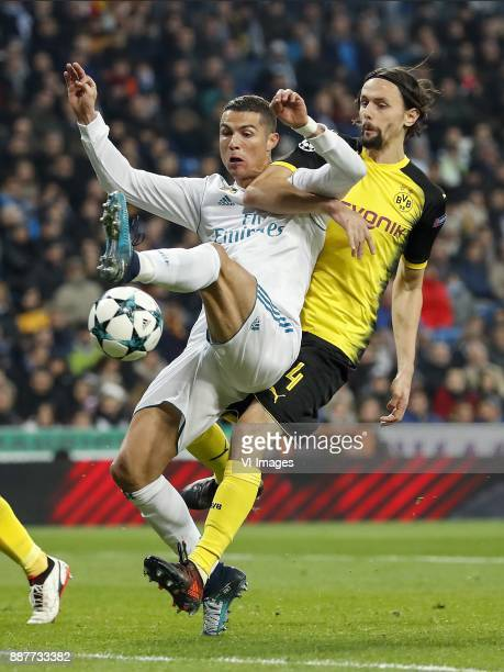 Cristiano Ronaldo of Real Madrid Neven Subotic of Borussia Dortmund during the UEFA Champions League group H match between Real Madrid and Borussia...
