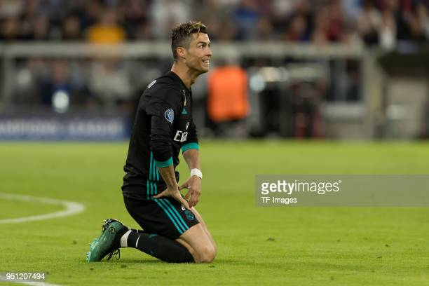 Cristiano Ronaldo of Real Madrid on the ground during the UEFA Champions League Semi Final First Leg match between Bayern Muenchen and Real Madrid at...