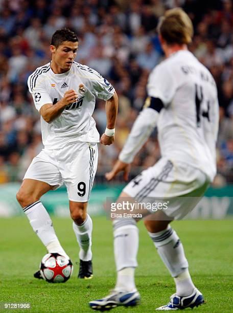 Cristiano Ronaldo of Real Madrid passes the ball during the UEFA Champions League Group C match between Real Madrid and Marseille at Santiago...