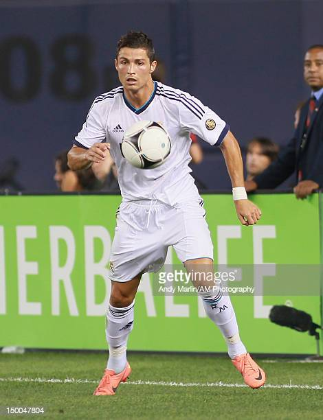 Cristiano Ronaldo of Real Madrid plays the ball against AC Milan at Yankee Stadium on August 8 2012 in New York City