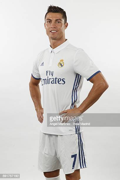 Cristiano Ronaldo of Real Madrid poses during a portrait session at Valdebebas training ground on August 18 2016 in Madrid Spain
