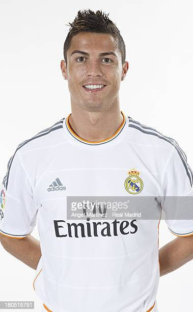 Cristiano Ronaldo of Real Madrid poses during the official team photo session at Valdebebas training ground on September 13 2013 in Madrid Spain