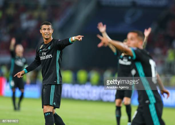 Cristiano Ronaldo of Real Madrid protests on referee's call during the UEFA Super Cup final between Real Madrid and Manchester United at the Philip...