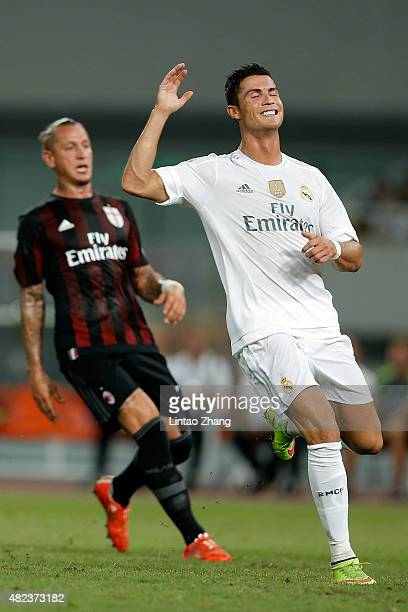 Cristiano Ronaldo of Real Madrid reacts after a shoot during the International Champions Cup match between Real Madrid and AC Milan at Shanghai...
