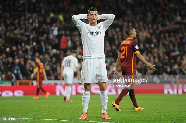 Cristiano Ronaldo of Real Madrid reacts after failing to score during the UEFA Champions League Round of 16 Second Leg match between Real Madrid and...