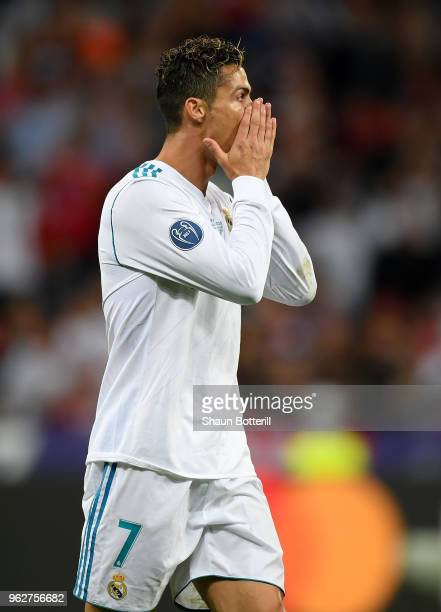 Cristiano Ronaldo of Real Madrid reacts after his sides first goal is disallowed during the UEFA Champions League Final between Real Madrid and...