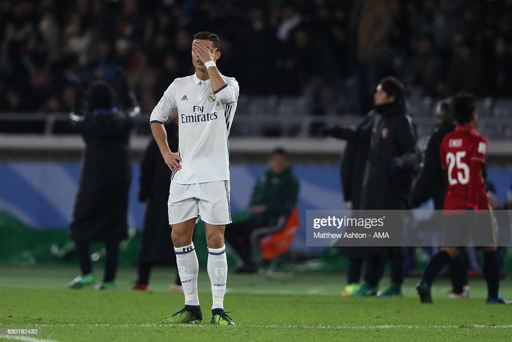 Cristiano Ronaldo of Real Madrid reacts after Kashima Antlers scored their second goal to make the score 1-2 during the FIFA Club World Cup final match between Real Madrid and Kashima Antlers at International Stadium Yokohama on December 18, 2016 in Yokohama, Japan.