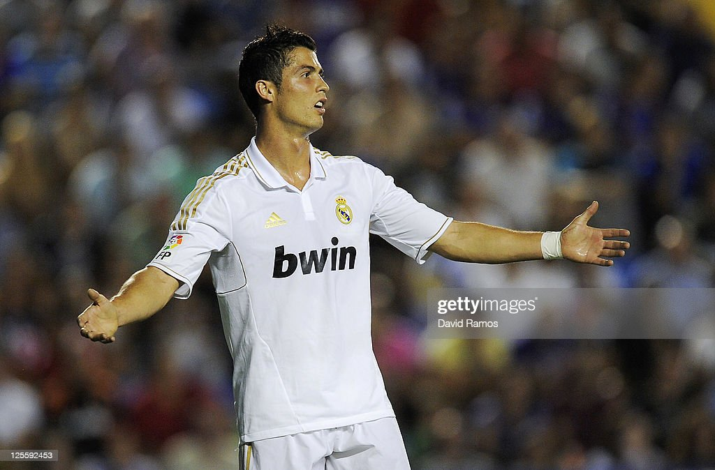 Cristiano Ronaldo of Real Madrid reacts after missing a chance to score during the La Liga match between Levante UD and Real Madrid CF at Ciutat de Valencia Stadium on September 18, 2011 in Valencia, Spain. Levante UD won 1-0.
