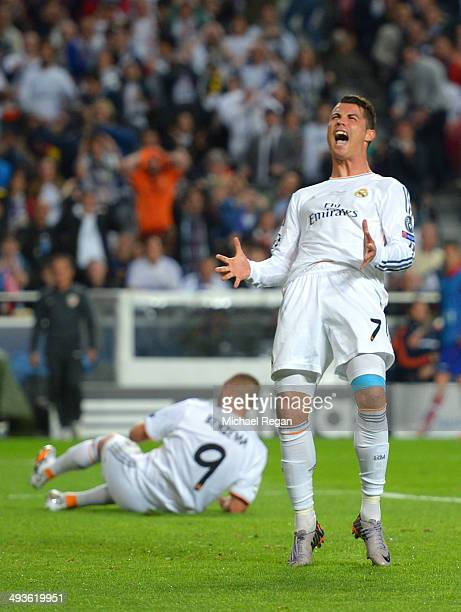 Cristiano Ronaldo of Real Madrid reacts after missing a chance ztgoal during the UEFA Champions League Final between Real Madrid and Atletico de...