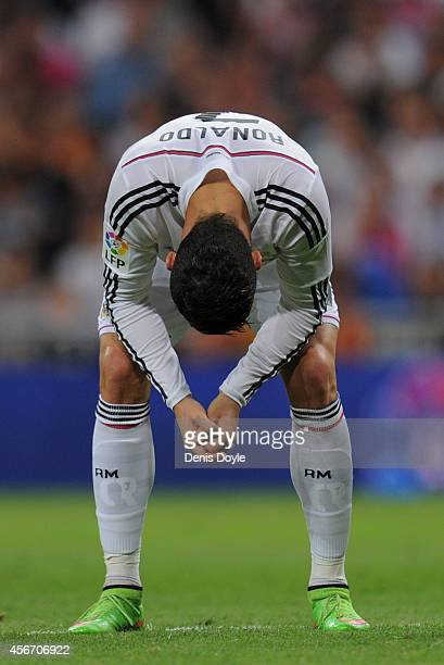 Cristiano Ronaldo of Real Madrid reacts after missing a shot at goal during the La Liga match between Real Madrid CF and Athletic Club at Estadio...
