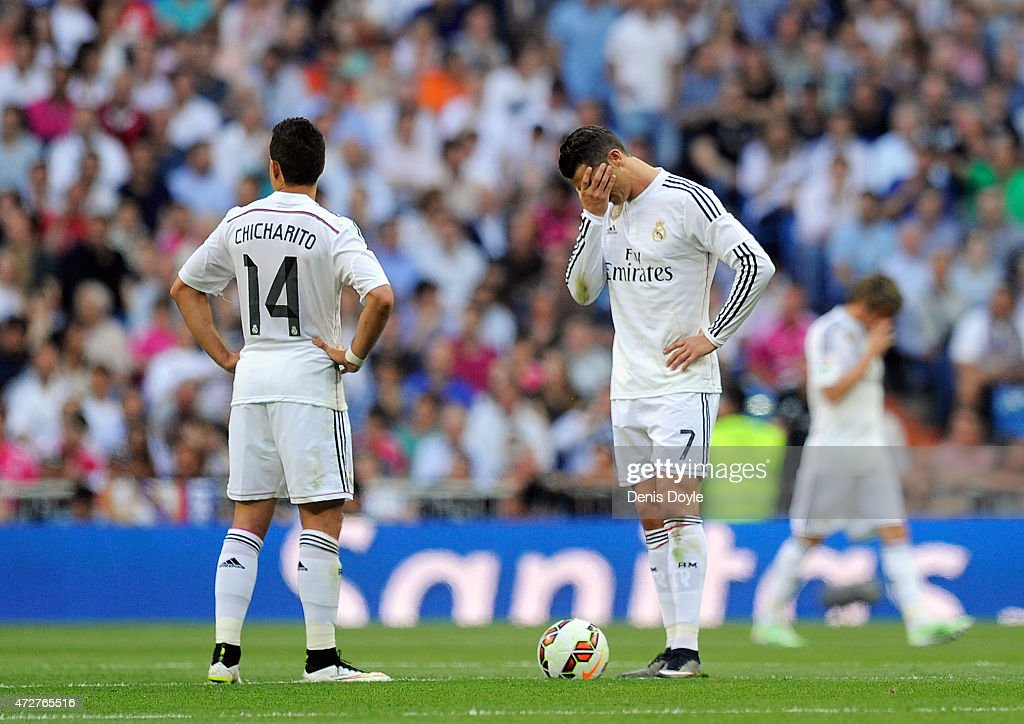 Cristiano Ronaldo of Real Madrid reacts after Valencia CF scored their 1st goal during the La Liga match between Real Madrid CF and Valencia CF at Estadio Santiago Bernabeu on May 9, 2015 in Madrid, Spain.