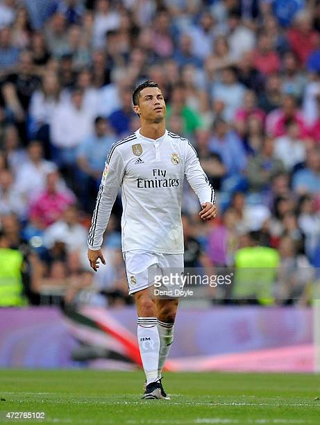 Cristiano Ronaldo of Real Madrid reacts after Valencia CF scored their 2nd goal during the La Liga match between Real Madrid CF and Valencia CF at...