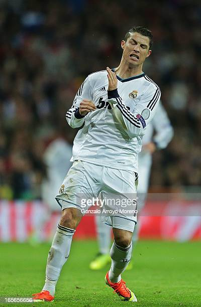 Cristiano Ronaldo of Real Madrid reacts annoyed after failing a shot to the goal during the UEFA Champions League Quarter final match between Real...