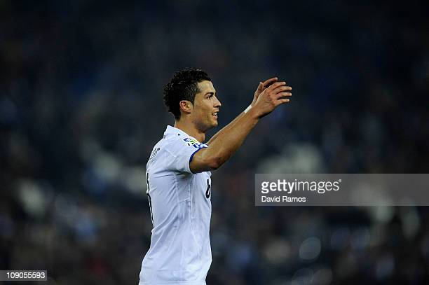 Cristiano Ronaldo of Real Madrid reacts during La Liga match between RCD Espanyol and Real Madrid at Estadi CornellaEl Prat on February 13 2011 in...