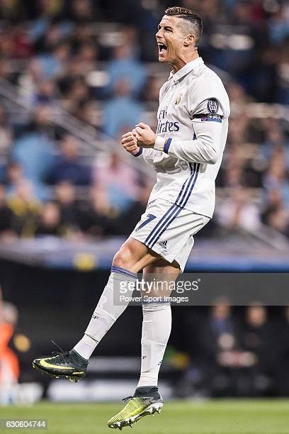 Cristiano Ronaldo of Real Madrid reacts during the 201617 UEFA Champions League match between Real Madrid and Borussia Dortmund at the Santiago...