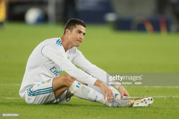 Cristiano Ronaldo of Real Madrid reacts during the FIFA Club World Cup UAE 2017 final match between Gremio and Real Madrid CF at Zayed Sports City...
