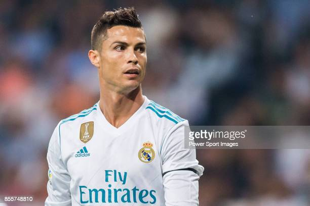 Cristiano Ronaldo of Real Madrid reacts during the La Liga 201718 match between Real Madrid and Real Betis at Estadio Santiago Bernabeu on 20...