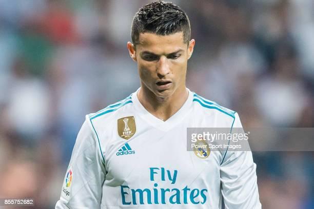 Cristiano Ronaldo of Real Madrid reacts during the La Liga 201718 match between Real Madrid and Real Betis at Estadio Santiago Bernabeu on 20...