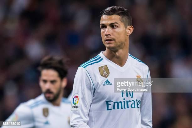 Cristiano Ronaldo of Real Madrid reacts during the La Liga 201718 match between Real Madrid and SD Eibar at Estadio Santiago Bernabeu on 22 October...