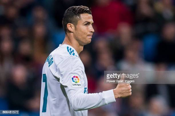 Cristiano Ronaldo of Real Madrid reacts during the La Liga 201718 match between Real Madrid and SD Eibar at Estadio Santiago Bernabeu on 22 October...